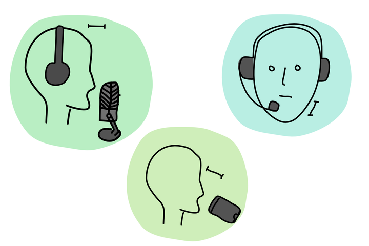A diagram displaying three common types of microphone: headset, large membrane and smartphone